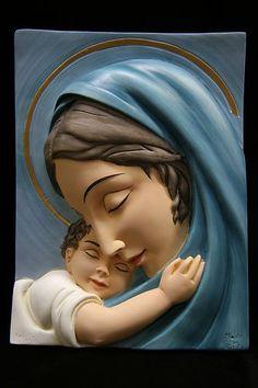 Virgin Mary Madonna and Jesus Statue Plate Plaque Vittoria Made Italy Catholic | eBay