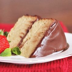 Healthy Yellow Cake with Chocolate Frosting by Desserts with Benefits