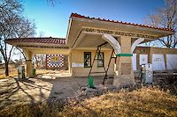 An old Route 66 service station which was built by Bradley Kiser in 1930 in what was then downtown Alanreed Texas. The station has been rest...