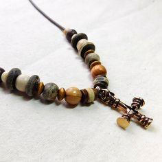 Wikinger Halskette Wolfskreuz Bronze von BelanasSchatzkiste auf Etsy Viking jewelry chain brooch medevil bone-beads