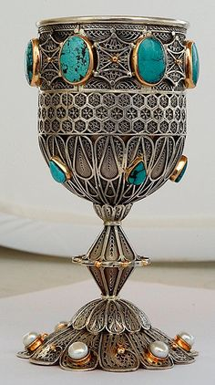 'Kiddush goblet - sterling silver and gold'