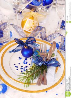Photo about Elegance christmas table decoration in white,blue and golden colors. Image of china, dinner, finery - 17117657 Christmas Table Settings, Christmas Table Decorations, Christmas Tablescapes, Holiday Tables, Decoration Table, Christmas Centrepieces, Centerpieces, Blue Christmas, Christmas Colors