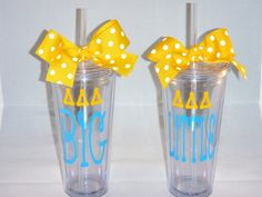 Tri Delta Big  OR Little  Greek Sorority  20 oz Tumbler Gift - available for ALL sororities. $18.00, via Etsy.