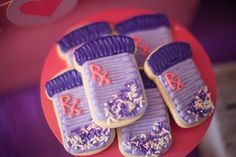 Sugar Cookies for a Doc McStuffins Birthday Party Doc Mcstuffins Cookies, Doc Mcstuffins Birthday Party, 4th Birthday Parties, 3rd Birthday, Birthday Ideas, Jenny Cookies, Cookie Decorating, Cupcake Cakes, Cupcakes