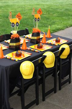 What a great table at a Construction Birthday Party! See more party ideas at CatchMyParty.com! #partyideas #construction