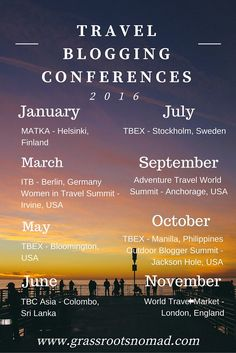 Calendar - Travel Blogging Conferences