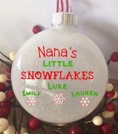 Little Snowflakes Personalized Grandkids Glitter Ornament, Christmas Glitter Ornament, Grandkids Custom Ornament, Custom Gift for Grandma - Gifts and Costume Ideas for 2020 , Christmas Celebration Glitter Ornaments, Diy Christmas Ornaments, Christmas Balls, Diy Christmas Gifts, Christmas Glitter, Ornaments Ideas, Christmas Ideas, Glitter Crafts, Vinyl Ornaments