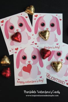Printable Puppy Valentine's Day Cards - use alone or paired with a chocolate heart for a sweet valentine treat!