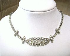 vintage clear rhinestone necklace, wedding bridal