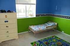 We already own that same comforter.  Love the magnetic paint idea.