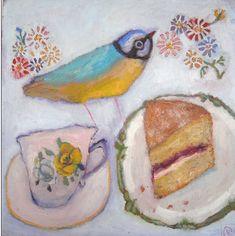 the art room plant: Vanessa Cooper II Paintings I Love, Art Paintings, Food Illustrations, Illustration Art, Vanessa Cooper, Naive Art, Whimsical Art, Bird Art, Bird Feathers