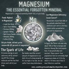 Magnesium: The essential forgotten mineral.... Magnesium is found in Zeal For Life along w Lipase which contains over 120 antioxidents and 42 other whole, organic food concentrates, providing an excellent source of nutrients, your body needs.  www.myeliagerald.zealforlife.com for more info