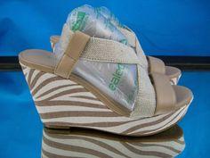 Zebra Tan Strappy Wedge Platform Sandals Nude 6.5 Beige 36.5 Arturo Chiang  #ArturoChiang #PlatformsWedges #Casual
