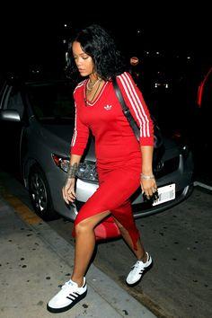 Rihanna in Adidas.