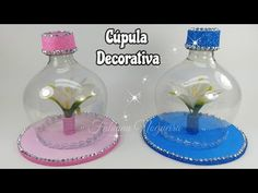 Plastic Bottle Crafts, Plastic Bottles, Fun Crafts For Kids, Diy Home Crafts, Mushroom Crafts, Paper Bowls, Christmas Candle Holders, Recycled Bottles, Valentine Decorations