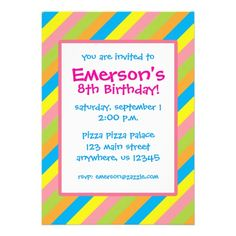 Cute Candy Stripes Invitations in blue, yellow, green orange and pink. Great for a birthday party or any festive occasion. www.gem-ann.com (Zazzle store)