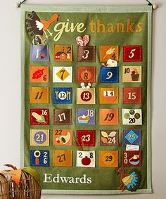 Give Thanks Countdown Calendar - Every day at dinner write down one thing you're thankful for then read collection on Thanksgiving *Love it.