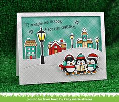 Lawn Fawn Here We Go A Waddling Penguin Christmas Card.