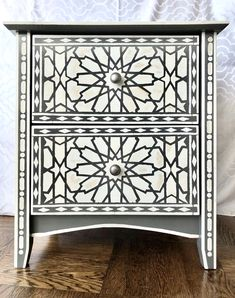 Nightstands with Faux Bone Inlay Stencils | Jewels at Home Refinished Furniture, Furniture Makeover, Campaign Dresser, Mid Century Dresser, Love Home, Nightstands, Folk Art, Bones, Stencils