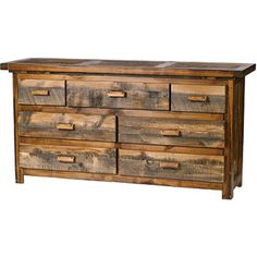 The Rustic Wyoming 7 Drawer Dresser is the perfect addition to a log cabin or rustic lodge bedroom. This masculine dresser is constructed of reclaimed weathered wood combined with various western hardwoods and features dovetail drawers with high quality roller glides. Made in USA.