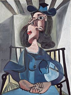Pablo Picasso - Woman with a hat sitting in a chair (Dora Maar), 1941 Kunst Picasso, Art Picasso, Picasso Paintings, Portraits Cubistes, Cubist Portraits, Dora Maar, Art Visage, Cubist Movement, Georges Braque