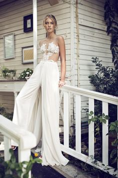 Daring, sheer bridal jumpsuit. Would you? Could you?!