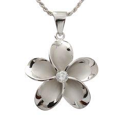 Hawaiian Jewelry 30mm Plumeria /cz Rhodium Pendant - Makani Hawaii,Hawaiian Heirloom Jewelry Wholesaler and Manufacturer