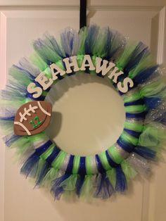 Seattle Seahawks Tulle Wreath. $30.00, via Etsy.