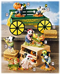 Cuddly Collectibles - Mary's Moo Moos Cows John Deere Figurines