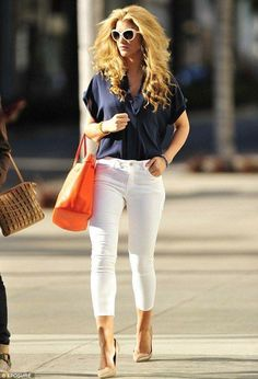 Need an orange bag! Glossy: Amy Willerton goes for an eighties look with big hair, blue blouse and white pedal pushers in Beverly Hills on Wednesday Blue Blouse Outfit, Orange Blouse, Navy Blue Blouse, Cool Outfits, Summer Outfits, Casual Outfits, Fashion Outfits, 80s Fashion, Orange Handbag