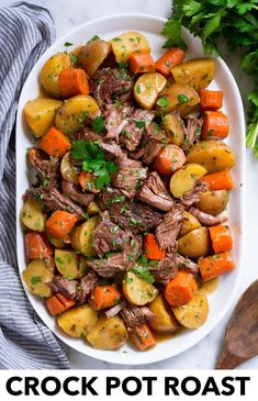 Slow Cooker Pot Roast - Cooking Classy Slow Cooker Pot Roast - Cooking Classy Best Ever Crock Pot Roast! Easy, flavorful and love that the veggies are mush! Roast Recipe Easy, Easy Pot Roast, Beef Pot Roast, Pot Roast Recipes, Healthy Crockpot Recipes, Beef Recipes, Crockpot Veggies, Healthy Foods, Healthy Crockpot Pot Roast