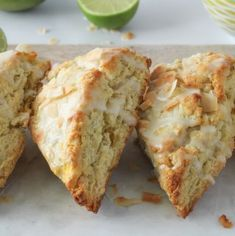 Flaky, buttery Cocont Mango Scones are filled with chunks of sweet mango, toasted flakes of coconut and then covered with a fresh lime glaze. Coconut Scones Recipe, Blueberry Scones Recipe, Mochi Recipe, Coconut Muffins, Savory Scones, Savory Breakfast, Breakfast Recipes, Mango Recipes, Sweets