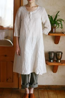 White linen dress; cuffed pants