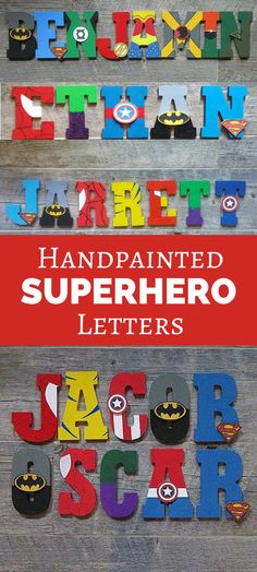 Any fan of superheros would love these, so cool! They would look great on any wall in a bedroom with other superhero themed stuff. Hand painted acrylic Marvel/DC superhero wall letters. #homedecor #kidsroom #superhero #marvel #dc #dccomics #etsy #affiliate