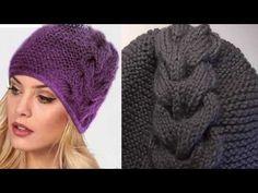 Модная шапка в этом году . Шапка спицами - YouTube