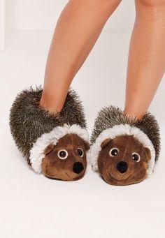 Hedgehog Slippers Brown