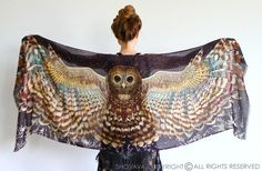 """Earthy colors at DaWanda This unique bohemian wings and bird feathers shawl scarf features:  - Hand-painted and then digitally printed Art of a Night Owl - """"Silent Flight"""" this is a highly detailed representation of a..."""