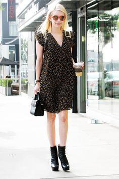Emma Roberts in Madewell dress, Dior bag, Miu Miu boots and Perverse sunglasses via @whowhatwhere