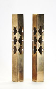 Pierre Forsell; Brass Candle Holders for Skultuna, 1960s.