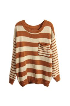 Cream & rust stripe sweater. oh my goodness I want this.