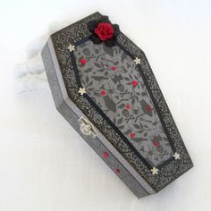 Halloween Decor Coffin Box Halloween Decoration Spooky Gift Box Gray Black Decorated Coffin Box Red Rose. $32.00, via Etsy.