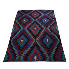 7x10 Flat Weave Rug Turquoise Blue Diamond Rug Zig Zag Vintage Turkish Kilim Rug for Home Decoration Outdoor Rugs for Farmhouse  - R4103