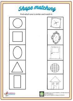 Shape Worksheets For Preschool, Nursery Worksheets, Shapes Worksheet Kindergarten, Matching Worksheets, Flashcards For Kids, Shapes Worksheets, Tracing Worksheets, Preschool Math, Preschool Shapes