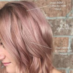 "Here's the formulation and placement for my latest Rose Gold  . Applied on a NL 7/8. .Ends were already a 9/10. . We wanted a ""Mauve"" shadow root to transition into a blush rose. . #kenracolor #kenra #kenraprofessional #rosegold #rosegoldhair #mauvehair #mauve #blushpink #hairgoals #hairbrained #shadowroot #mermaidhair Rose Blonde Hair, Gold Blonde, Rose Gold Hair, Rose Gold Formula, Kenra Hair Color, Matrix Hair Color, Hair Shadow, Pastel Hair, Pink Hair"