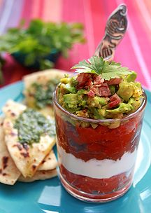 Tricolour Mexican Dipper with Coriander Butter Tortillas. Dipper, Best Places To Eat, What To Cook, Tortillas, Coriander, Restaurant Bar, Guacamole, Butter, Mexican