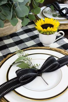 Driven by Decor - Affordable Style and Timeless Design Decoration Table, Table Centerpieces, Masquerade Centerpieces, Wedding Centerpieces, Black And White Ribbon, Black White, Black Gold, Driven By Decor, Beautiful Table Settings
