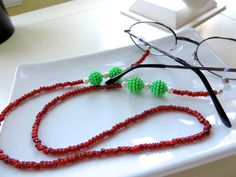 Our Mrs. Claus Line Beaded Eyeglass Holder  by EyeglassLanyards