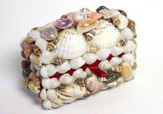 Tiny Seashell Treasure Chest - party favor, $3.99 (http://www.caseashells.com/tiny-seashell-treasure-chest/) #partyfavors, #seashellbox, #treasurechest