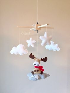 Baby Mobile - Cloud Mobile - moose mobile - baby mobile moose by lovefeltmobiles on Etsy https://www.etsy.com/listing/479378990/baby-mobile-cloud-mobile-moose-mobile