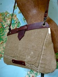 Bag made from old tents and leather.